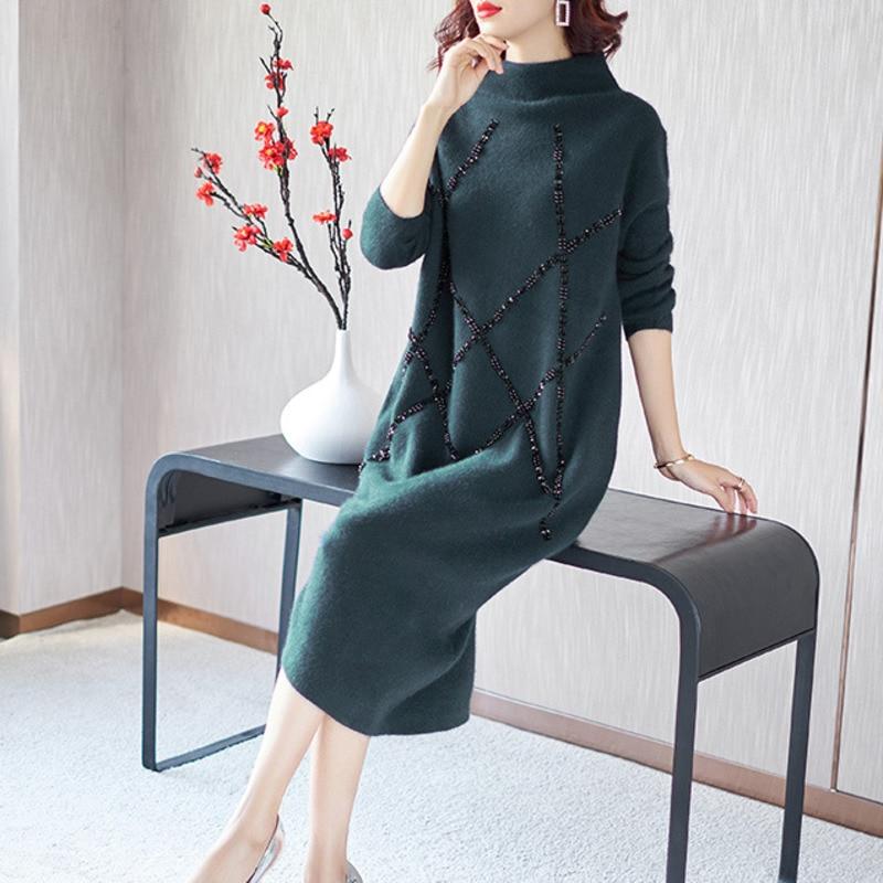 LANMREM 2019 mode hiver nouveau modèle haute plomb manches longues épaississement garder au chaud perle longue robe de fonds WC83106XL