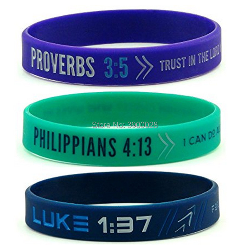 100pc Bible Verse Philippians luke Proverbs silicone wristband bracelet for Men Women Christian Religious Jewelry Gifts