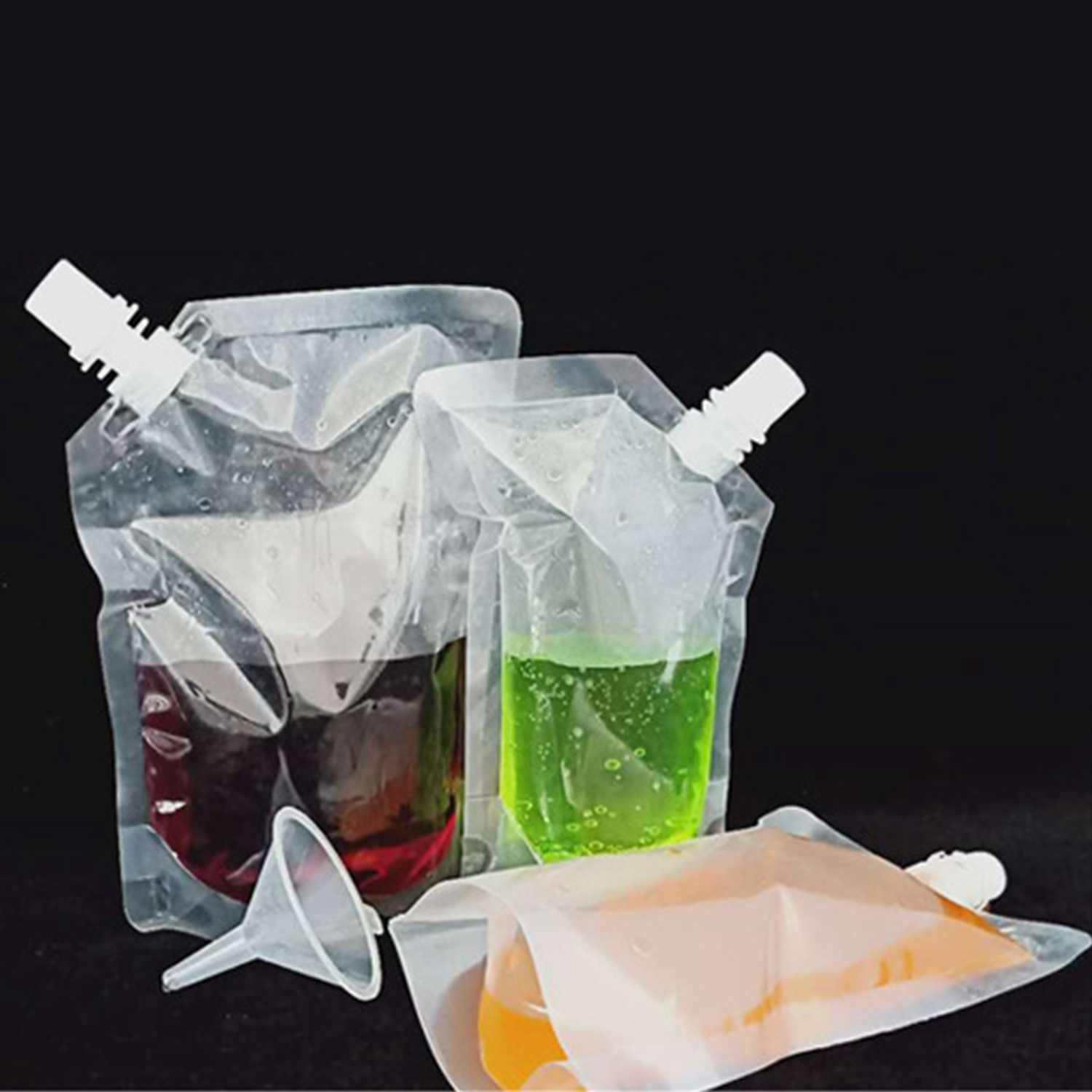 Best 50Pcs Stand-Up Plastic Drink Packaging Bag Spout Pouch For Beverage Liquid Juice Milk Coffee Nozzle Bag Oblique Mouth Dri