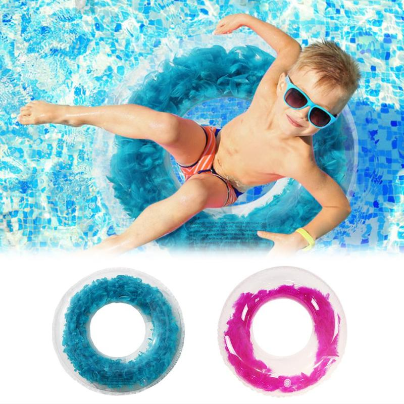 Feather Decoration Inflatable Swimming Ring Water Pool Circle Armpit Float Swimming Safety Ring Summer Water Pool Playing Fun