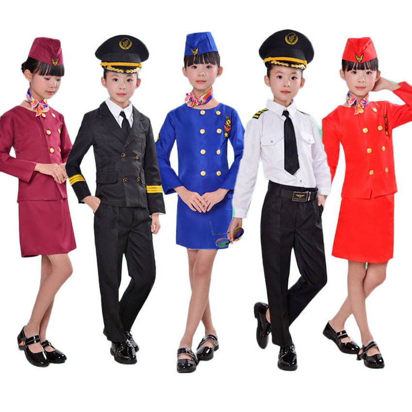 Stage Wear Flight Attendant Dress for Student Girls Halloween Birthday Party Wear Children Kids Boys Pilot Uniform Costumes
