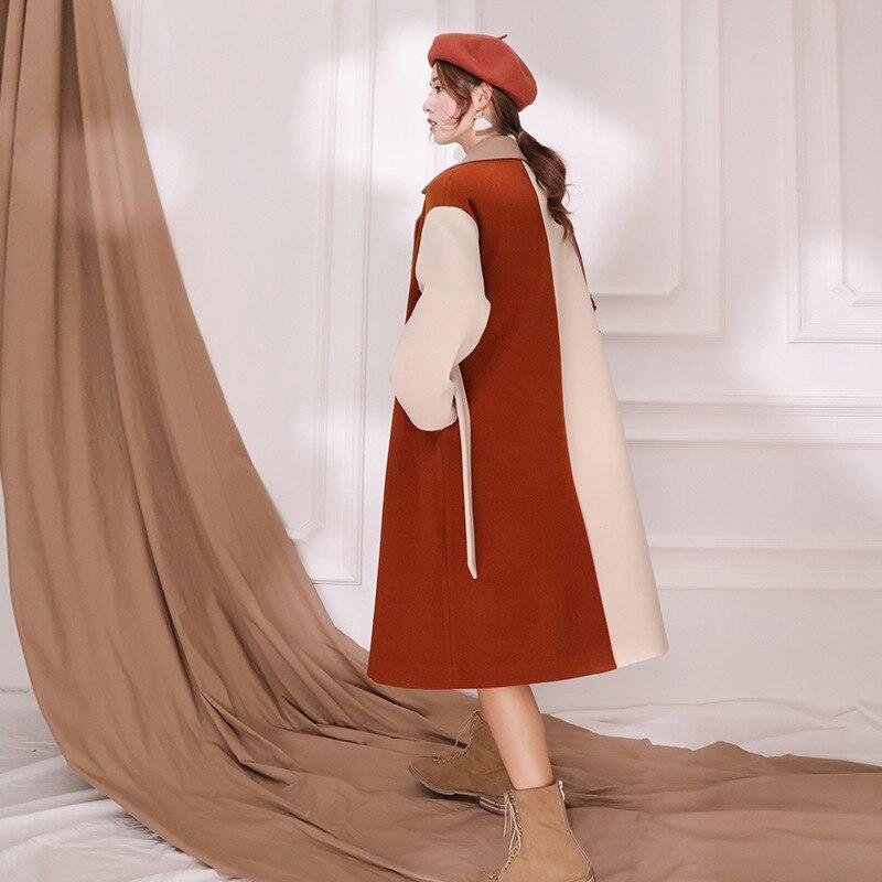 D'hiver Wc89303l 2018 Patchwork Femme Lâche Coupe Caramel Modèle Et De Red Laine Lanmrem La Nouveau Apricot Coréenne Automne Scission vent Mode Manteau w4qtZdU
