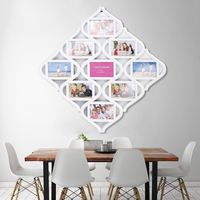 55X55cm 9 Images White Plastic Photo Frames Chinese Knots Picture Display Birthday Wedding Gift Collage Home Room Wall Decor