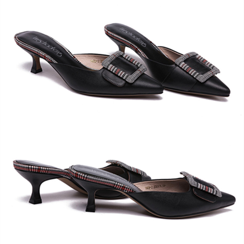 Casual Black Pantoufles La Talon Mode Chaussures Européenne Noir De Solides Et Femmes Bas À fnTgnaBxwq
