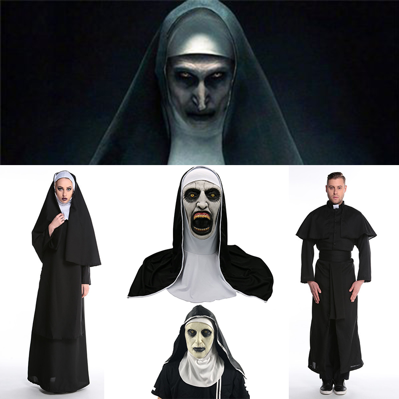 The Nun Horror Mask Cosplay Valak Scary Latex Masks With Headscarf Full Face Helmet Costume Halloween Party Props