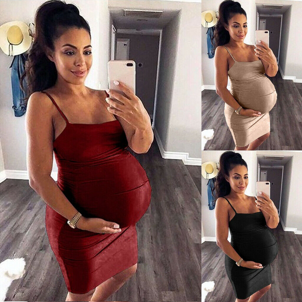2019 Brand New Pregnant Women Cami Breastfeeding Nursing Dress Maternity Casaul Beach Sundress Sleeveless Strap Solid Sundress