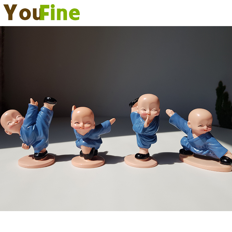 YOUFINE Hot sale new four small monk Shaolin Kungfu kid creative resin doll home decoration gift