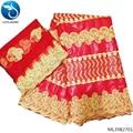 LIULANZHI Africana bazin getzner batik tela al por mayor tela de brocado color rojo bordado Diseño alta calidad vestido ML39B27