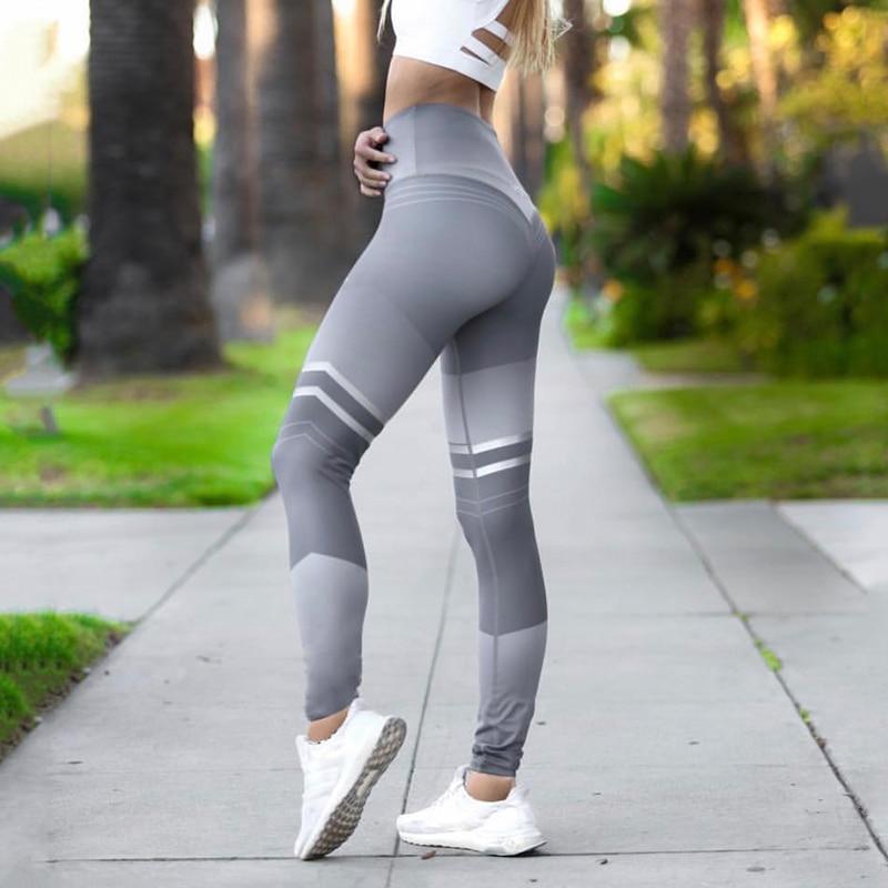 Womens Print Yoga Pants Training Leggings Running Workout High Waist Trousers