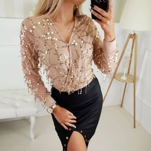 2019 Women V-neck Sequins Tassel Chiffon Shirt Spring Summer Long Sleeve Sexy Blouse Transparent Casual Tops