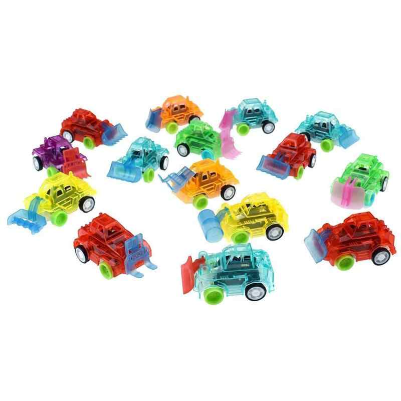 Colors Toy Car Colorful Transparent Car Kids Pull Back Small Engineering Car Model Kids Birthday Xmas Gift Random ship wholesale