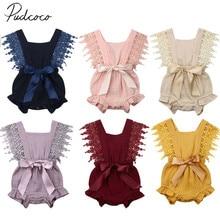 Летняя одежда для малышей новорожденных одежда для малышей для девочек одноцветное Кружевное боди бант для новорожденного-узел пояса комбинезоны одежда наряды 0-24 M