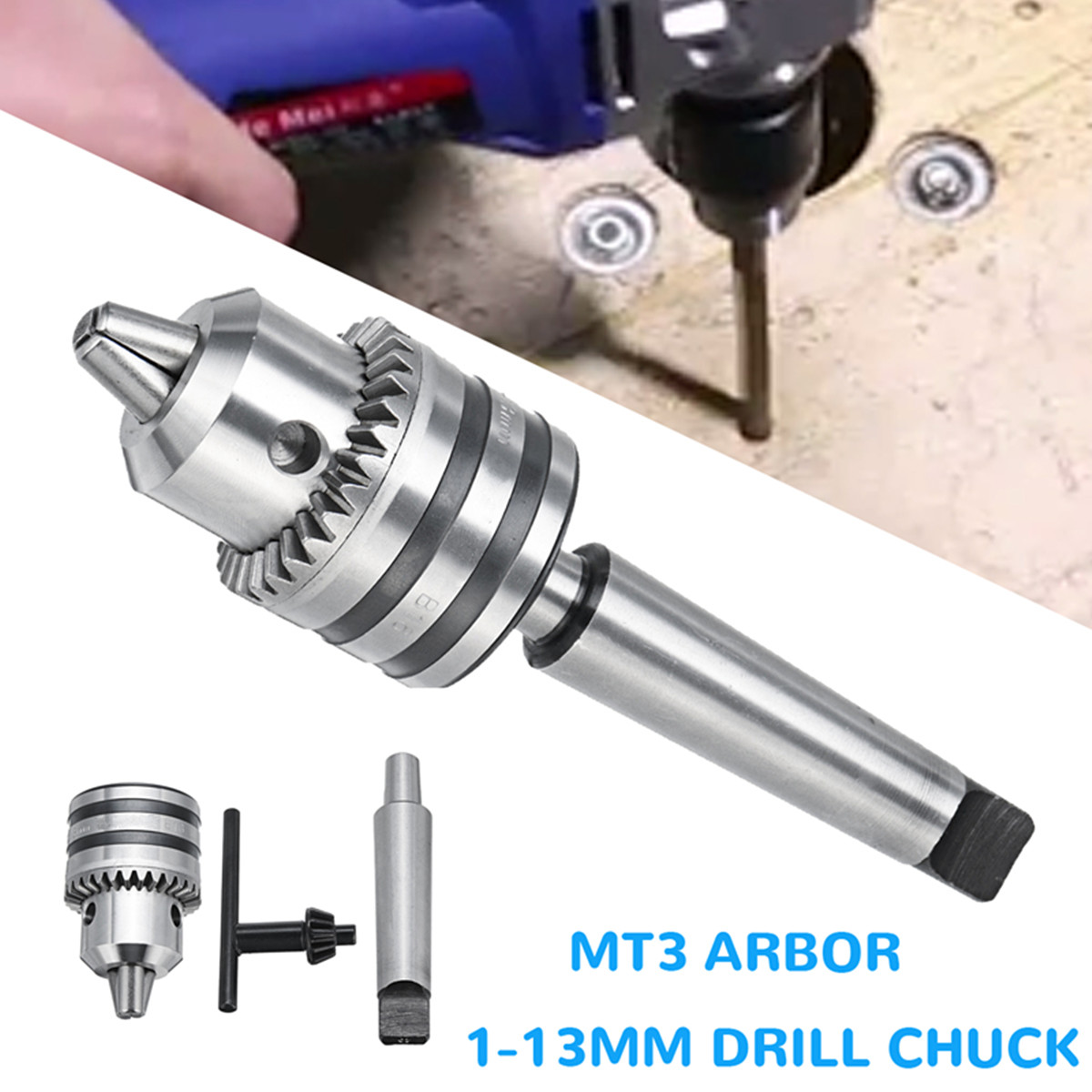 MT3 1-13mm Heavy   Drill Chuck with MT3 Morse Taper Arbor For Mini Lathe Rotary Hammer Hand ToolMT3 1-13mm Heavy   Drill Chuck with MT3 Morse Taper Arbor For Mini Lathe Rotary Hammer Hand Tool