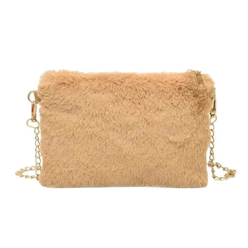 New Faux Fur Handbags Chain Sling Crossbody Bags Women Satchel Evening  Phone Bags Shoulder Messenger Clutch 60f49b1e2c3ac