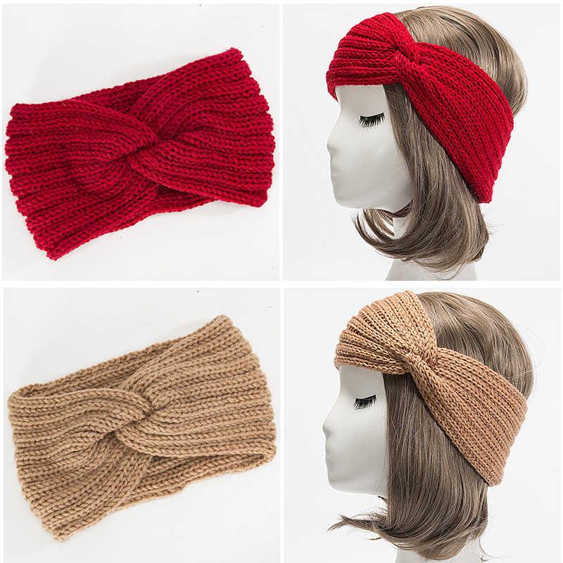 Горячая эластичная шерсть Тюрбан Твист Теплая повязка на голову для женщин Зимняя вязаная повязка на голову удобные женские аксессуары для волос
