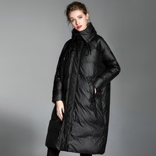 Loose Fashion Bat Type 90% White Duck Down Fashion Winter Jacket Coat Women Plus Size High collar Long Feather Overcoat Female цены онлайн