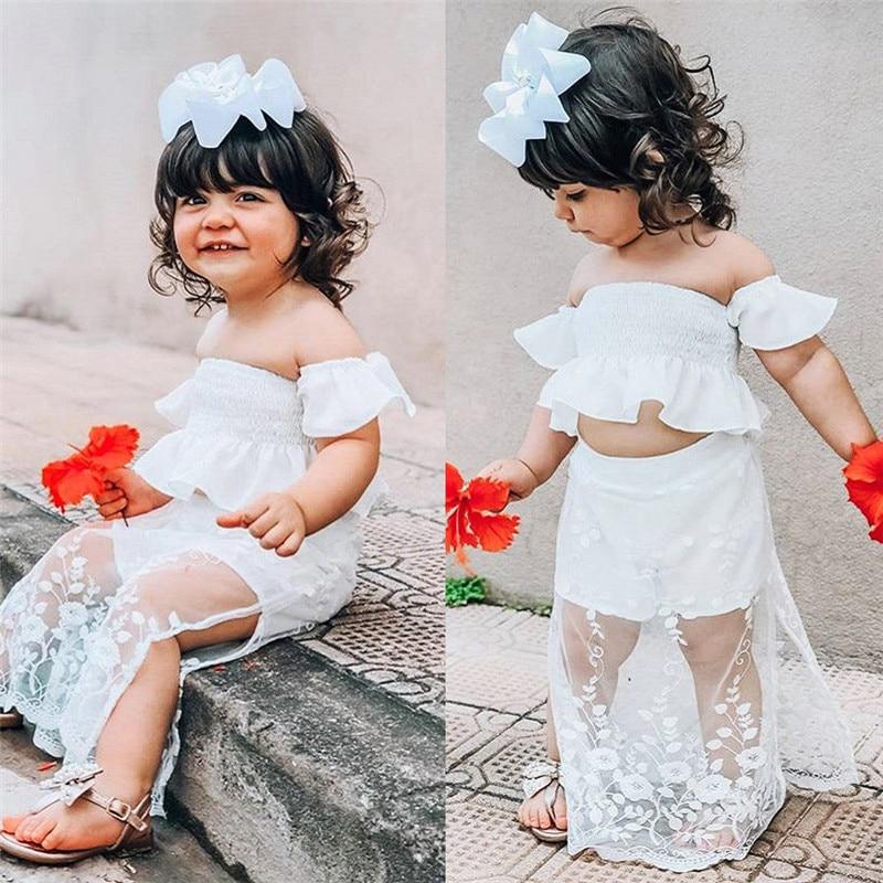 Princess Kids Baby Girls Floral Off Shoulder Tops+Headband Outfits Set