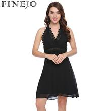 Women Sexy Halter Deep V-Neck Backless Sleeveless Lace Patchwork A-Line Dress