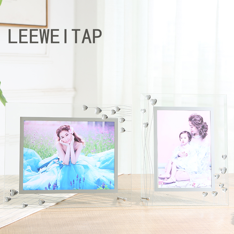 Simple and lovely picture frames, home accessories, office ornaments, send lovers to send friends, transparent and full of love