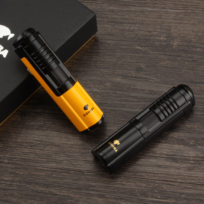 COHIBA Cigar Lighter 1 Jet Flame Portable Butane Gas Cigarette Lighters Cigar Accessories & Gift Box