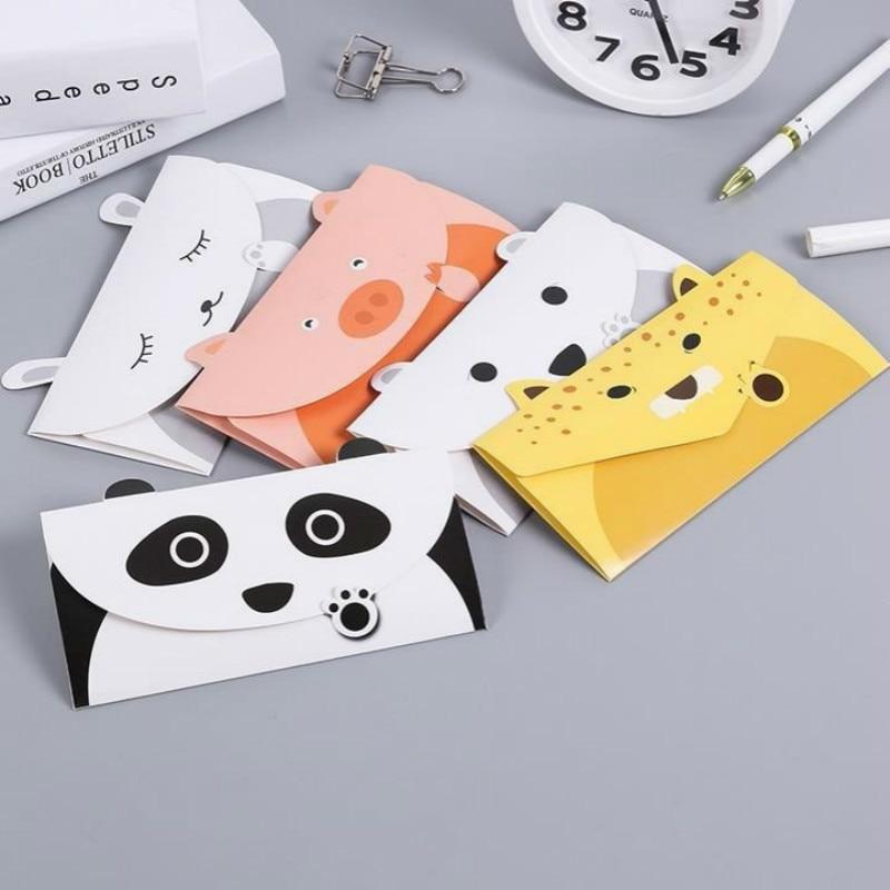 Intellective 2 Stks/partij Creatieve Schattige Dieren Panda Hond Stijl Papier Kraft Envelop Koreaanse Wenskaart Briefpapier Levert 03226