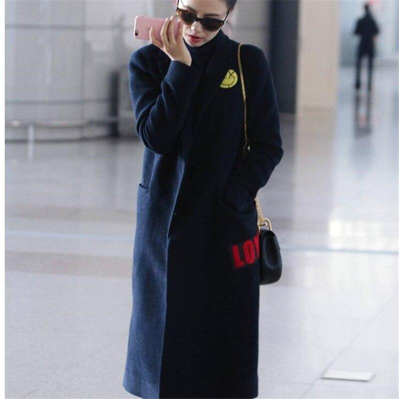 Cachemire Avec Marine Hiver Féminine Nouvelles 2018 Long Robe De Tempérament Genre Laine Navy Pardessus Automne Star Femmes Même Fin Haute 7FgFqAwO