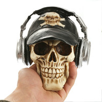 Resin Craft Statues For Decoration Skull Wthe Headphone Creative Skull Figurines Sculpture Home Decoration Accessories