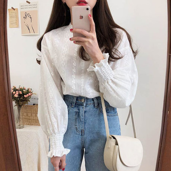 Embroidery Lace Shirt Spring femme Casual white Tops Women Long sleeve Linen Cotton Girls Blouse Plus Size Women Blouses femme 1