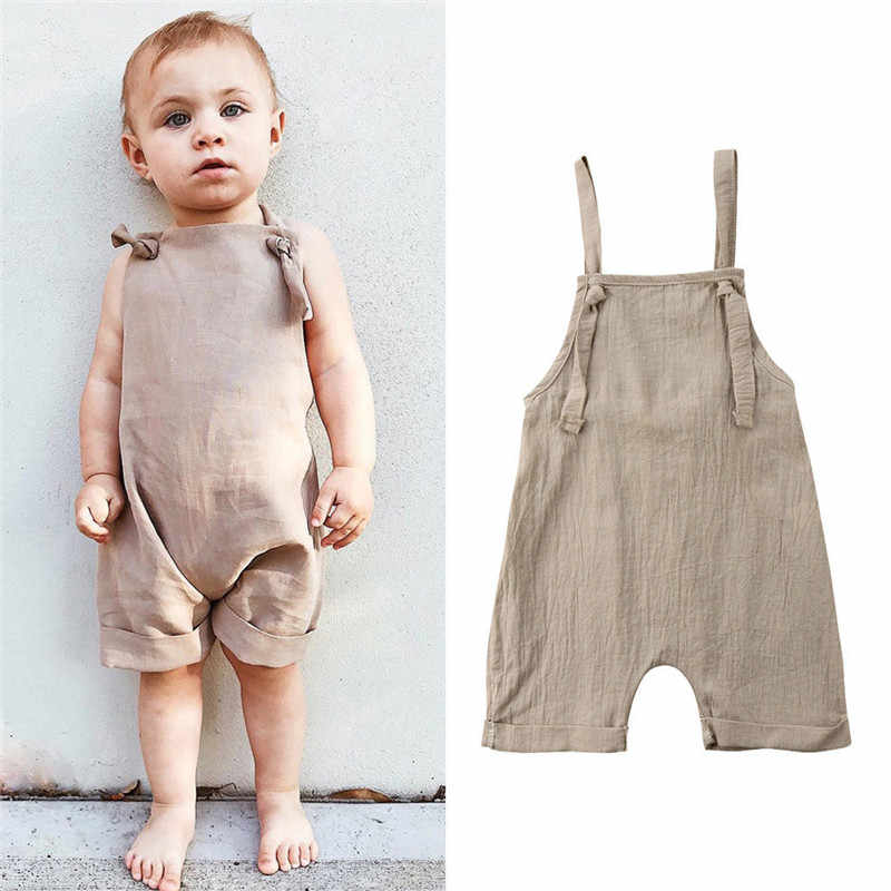 d3186e1f8ec Kids Baby Girls Boys Bib Short Pants Backless Cotton Linen Romper Khaki  Jumpsuit Outfits Clothes Casual