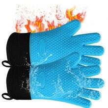 Силиконовые перчатки теплостойкие обувь; нескользящая подошва; Водонепроницаемая зимняя обувь супер с длинными рукавами с манжетами все пальцев Защита запястья-микроволновая печь Перчатки для выпечки, гриля