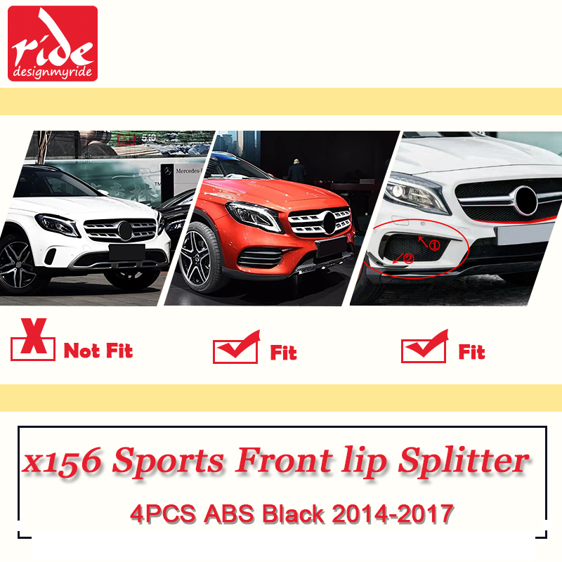 For Benz X156 Car Front Lip Splitters Air Flow Vent 4pcs ABS Black GLA Class GLA180 GLA200 Sports Front Lip Splitters 2014 2017 in Bumpers from Automobiles Motorcycles
