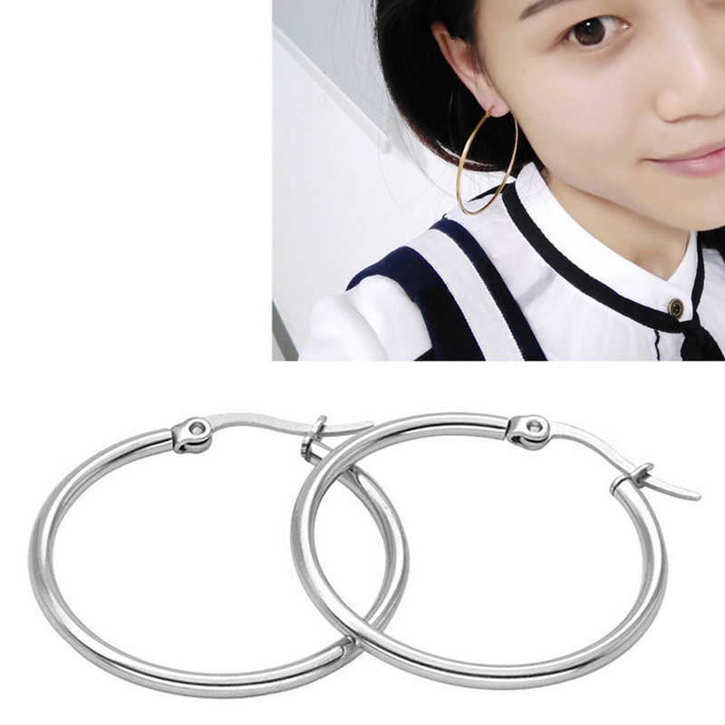 1pair Earrings 15mm 20mm 25mm Huggies Woman Temperament Fashion Simple Hoop Stainless Steel Ear Clip Jewelry Round