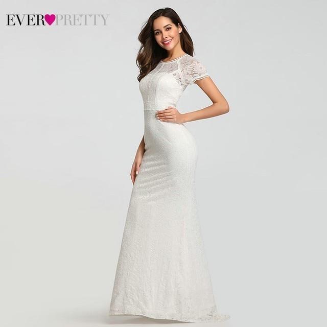 Кружевные свадебные платья с длинным рукавом и круглым вырезом, с аппликацией в виде русалки, сексуальные торжественные Свадебные платья EZ07802WH Robes De Mariee