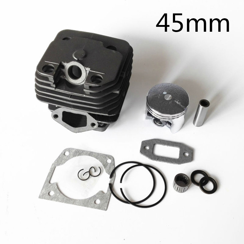 12pcs/set Cylinder+Gasket+Piston+Piston Rings+Pin+Clips Kit For 52CC 5200 Chainsaw 45mm Bore Diameter