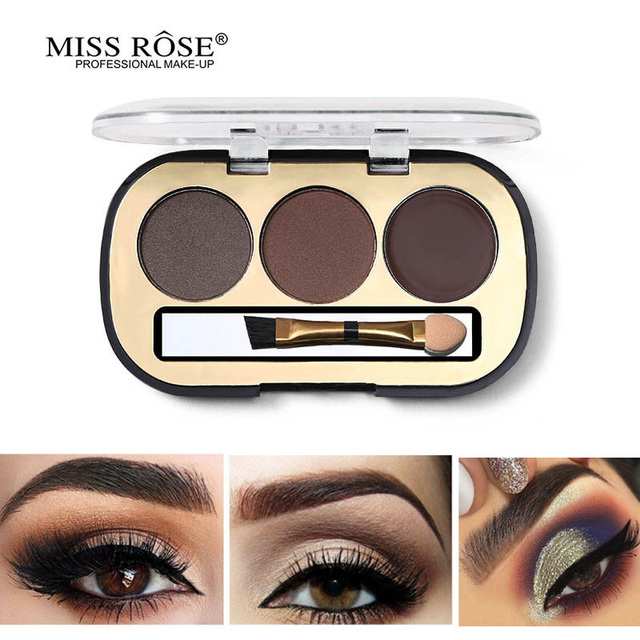 Miss Rose 3 Colors Eyebrow Enhancer Kit Makeup Palette Tattoo