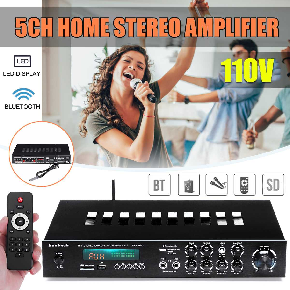 5 Channel Aluminum Alloy Home Amplifier Subwoofer LED Display for Hi-fi bluetooth Speaker Support Remote Control FM Radio USB5 Channel Aluminum Alloy Home Amplifier Subwoofer LED Display for Hi-fi bluetooth Speaker Support Remote Control FM Radio USB