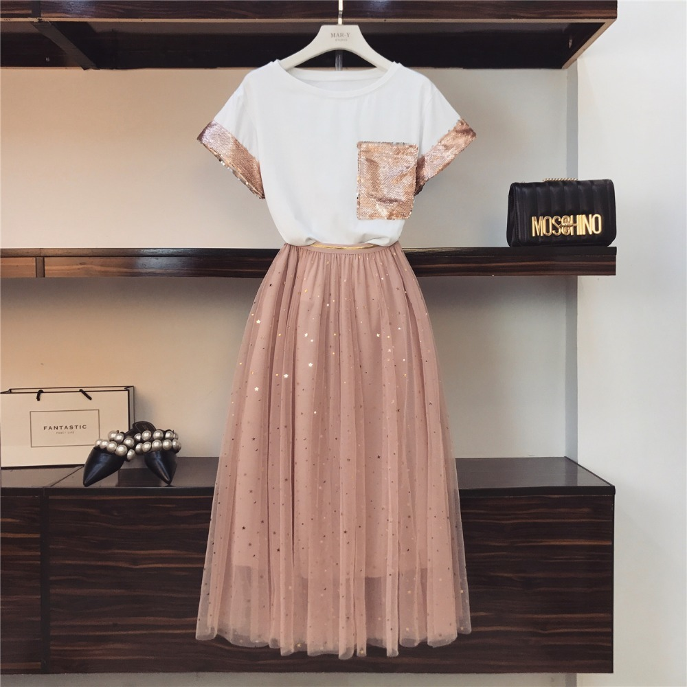 2019 Summer New  Women Two Piece Set Sequined Pocket Cotton T-shirt + Tulle Mesh Skirt 2 Pieces Clothes Set Suits
