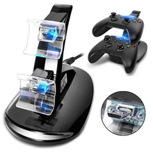 LED Light Dual Controller Charging Dock Station Charger for Microsoft Xbox One/Xbox One S Controller