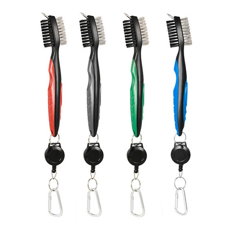 Cleaner Golf-Brush Club with Retractable Zipper Aluminum-Alloy Carabiner for Connection
