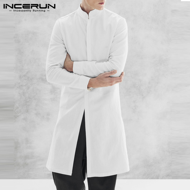 INCERUN Fashion Cardigan Mens Jackets Long Stand Collar Coats Jackets Button Up Trench Overcoats Men Winter Clothing Male Coats