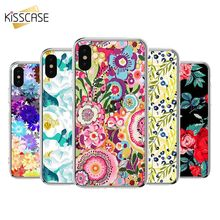KISSCASE Flower Mobile Phone Case For iPhone X 8 7 6 6s Plus Soft Floral 5 5s SE Cover Fundas Coque Capa