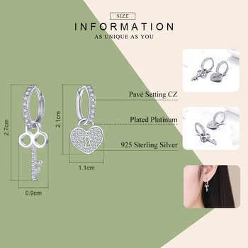 WOSTU Fashion 925 Sterling Silver Key Lock Drop Earrings Zircon Love Heart Dangle Earrings For Women Wedding Jewelry Gift CQE577