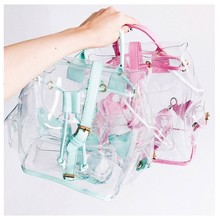 2019 New Fashion Girl Pink Clear Cute Waterproof Pvc Transparent Backpack School Bag Travel Mini Bags