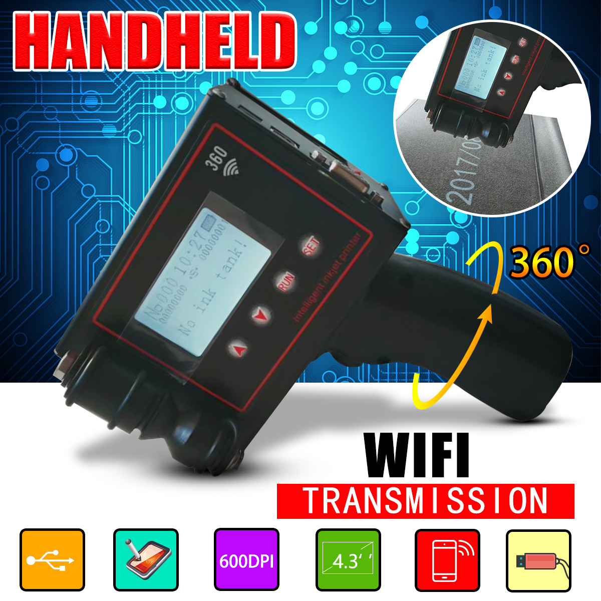 4.3 inches Handheld Intelligent Inkjet Printer Touch Screen 360T Ink Date Coder Coding machine + Quick-drying ink cartridge цена