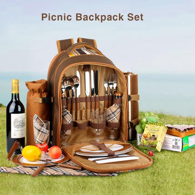 Portable Camping pique-nique sac avec couverts réfrigérateur sac Cubiertos pique-nique ensemble voyage sac à dos refroidisseur sacs en plein air vaisselle sac