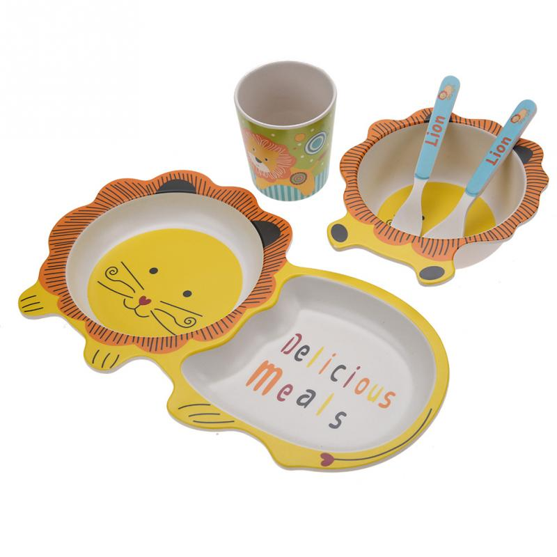 5Pcs/Set Cartoon Baby Dishes Set Bamboo Fiber Lion Bowl Cup Plates Sets Toddler Children Dishes Tableware Dinnerware Hot Sale ceramic