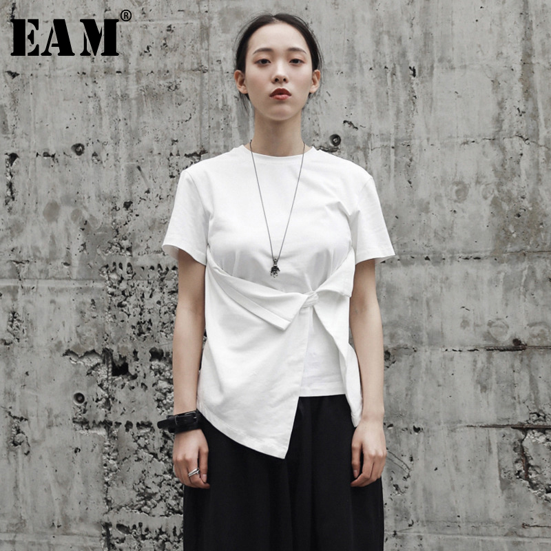 [EAM] 2020 New Spring Summer Round Neck Short Sleeve White Hem Fold Irregular Knot Hem Loose T-shirt Women Fashion Tide JR497