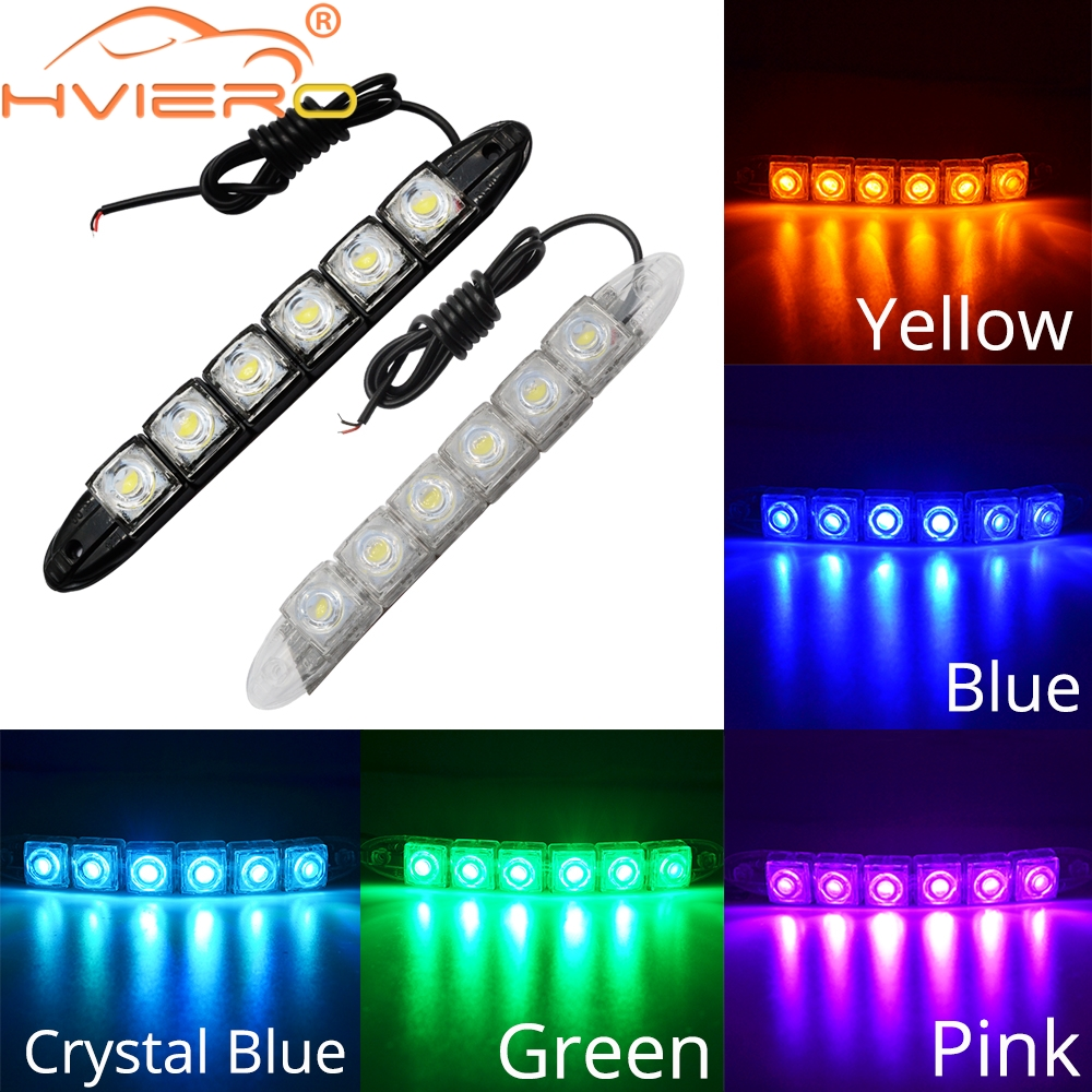 2X DRL Daytime Running Lights 6LED Red Blue Green White Waterproof Bright Flexible Driving Fog Bulb Warning Lamp DC 12V Auto Led in Car Headlight Bulbs LED from Automobiles Motorcycles