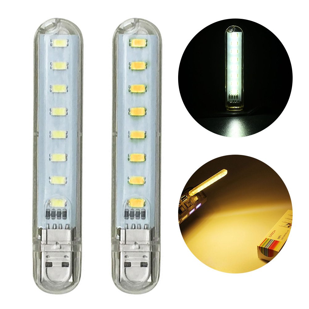 Cuidadoso 8 Led Usb Luz Portátil Mini Usb Potencia 8 Led Lámpara De Luz Nocturna 5 V Luz Blanca Cálida/pura Para Ordenador Portátil De Banco De Energía