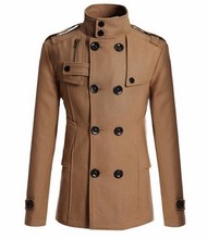 Slim Fit Long Coat Warm Double Breasted Peacoat Jacket - Black Gray Navy Camel M-XXL